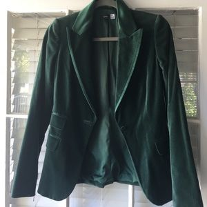 Green velvet sacks blazer